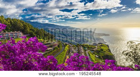 Aerial view from the highest Cabo Girao Madeira island Portugal