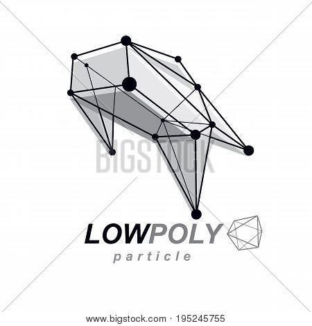 Abstract vector geometric form 3d shape. Communication technologies modern emblem.