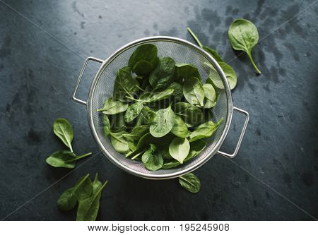 Natural organic fresh spinach in a sieve