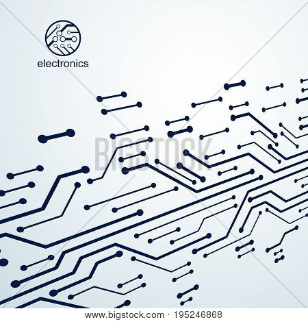 Vector abstract computer circuit board illustration technology element with connections. Electronics theme web design. Modern technology communication.