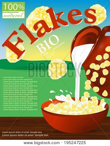 Flakes corn or wheat in a bowl. Milk pouring from the jug a plate. Label for cereal boxes. Background field sky and sun. Vector illustration.