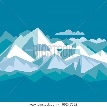 concept simple poster of mountain panorama. vector illustration header