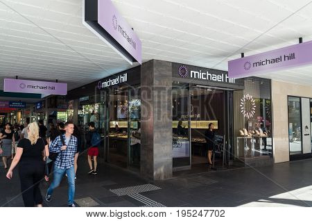 Melbourne, Australia - February 23, 2017: Michael Hill is an American chain of jewelers in North America and Oceania. This store is in Bourke Street Mall in central Melbourne.