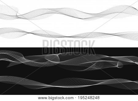 Set of black twist curved lines abstract wave isolated on white background Vector Illustration