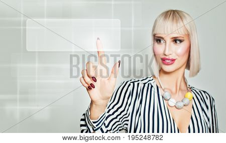 Beautiful Woman Fashion Model Looking for Things in Web. Internet Surfing. Female Hand and Virtual Browser with Search Icon