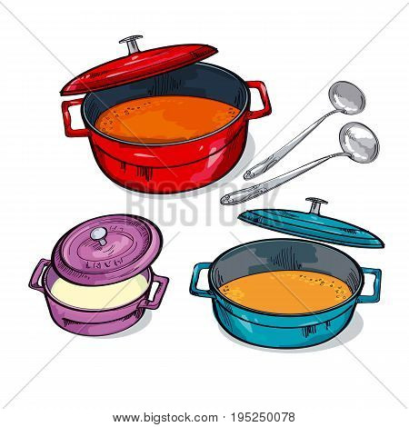 colorful soup pan assorted. sketch vector illustration.