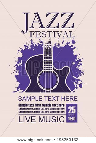 Vector banner with acoustic guitar on grunge violet background lettering jazz festival live music and place for text in retro style