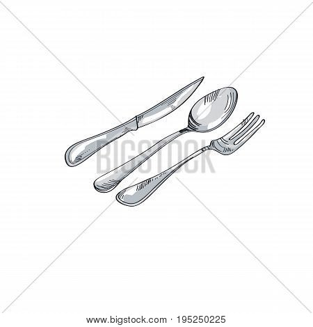 tableware design. spoon fork knife sketch vector illustration.