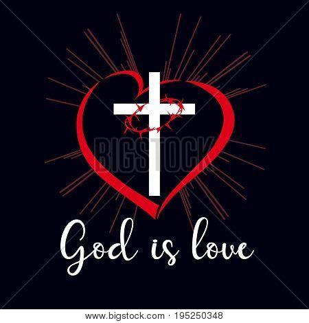 God is love inscription emblem. Bible vector lettering John 4:8