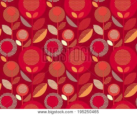 luxury red 60s floral retro pattern. geometry decorative style vintage flower seamless motif. vector illustration