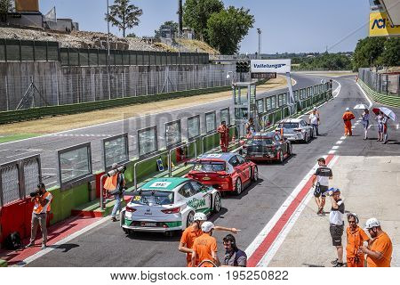 Vallelunga, Rome, Italy. June 24 2017. Seat Leon Cupra Cup Racing Cars In Pit Lane