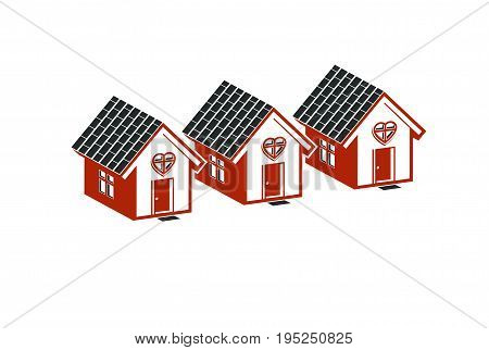 Simple cottages with heart symbol love and romance idea. Houses vector illustration.