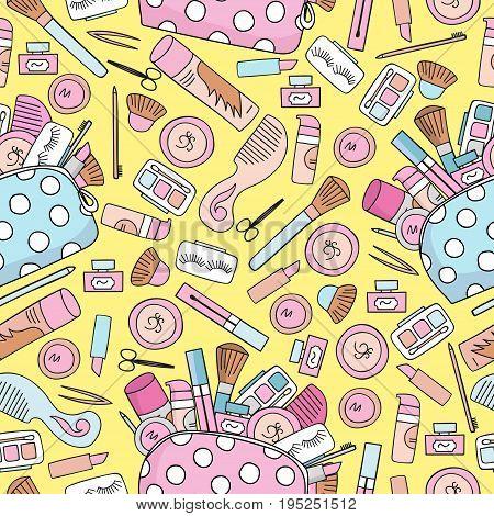 Seamless background cosmetics. Makeup cosmetics tools and beauty cosmetics. Freehand drawing. Fashion illustration seamless pattern.