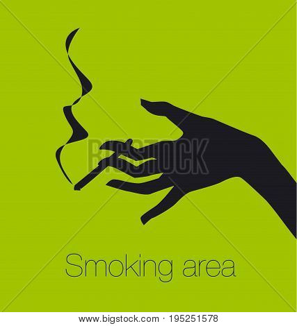 hand with cigarette, smoking area sign, vector silhouette illustration