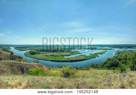 Summer Bright View On Delta Of The River Vorskla From The Hill