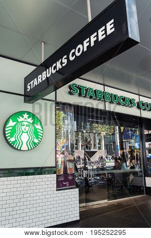 Melbourne, Australia - February 23, 2017: Starbucks Coffee is an American multinational coffee shop chain. This store is in central Melbourne.