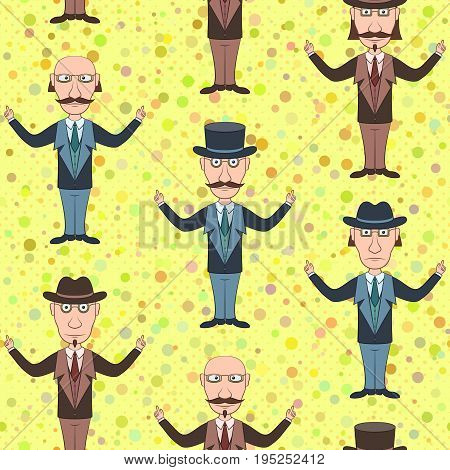 Seamless Background with Strict Slender Gentleman in Glasses, Hat and Business Suit, Funny Cartoon Characters. Tile Illustration for Your Design. Vector