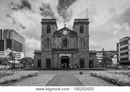Port Louis Mauritius - December 25 2015: Exterior of the church of Immaculate Conception (Cathedral of St. Louis) in Port Louis Mauritius. Black and white photography.