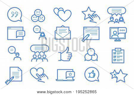 Feedback and Testimonials Icon Set. Blue and Orange Colors. Isolated Icon Set on White Background.
