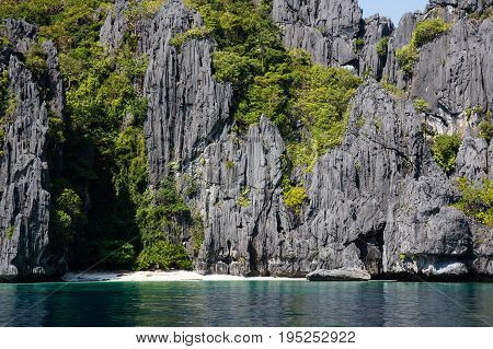 Waterscape in El Nido Bacuit bay Palawan island Palawan province Philippines
