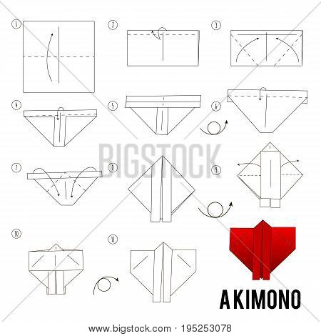 Step by step instructions how to make origami kimono