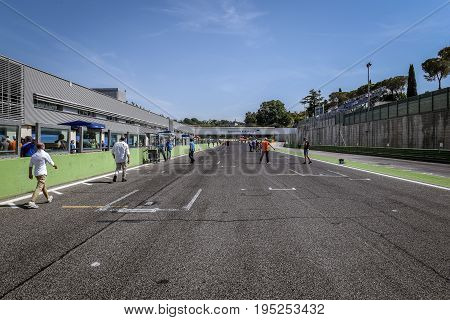 Vallelunga, Rome, Italy. June 24 2017. Straight Circuit Starting Finish Line Without Cars