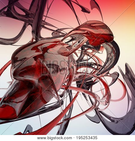 red abstract liquid waves 3D rendered fractal
