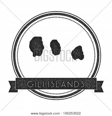Gili Islands Map Stamp. Retro Distressed Insignia. Hipster Round Badge With Text Banner. Island Vect