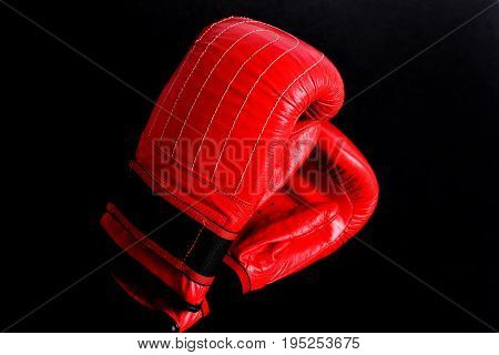 Sports Equipment And Individual Sport Concept With Red Boxing Mittens