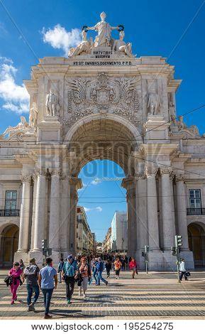 LISBON,PORTUGAL - MAY 18,2017 - View at the Rua Augusta Arch in Lisbon. Lisbon is the capital of Portugal.