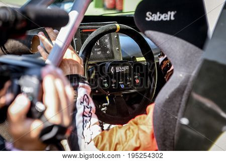 Vallelunga, Rome, Italy. June 24 2017. Renault Megane Trophy, Racing Car Cockpit, Dashboard And Driv