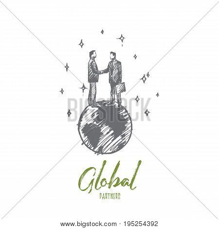 Global partners concept. Hand drawn businessmen shaking hands standing on Earth isolated vector illustration.