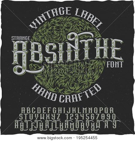 Absinthe hand crafted poster to use in any vintage style labels of alcohol vector illustration