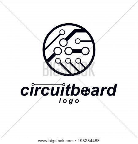 Cybernetic element. Vector abstract circular circuit board illustration. Technology microchip logo.