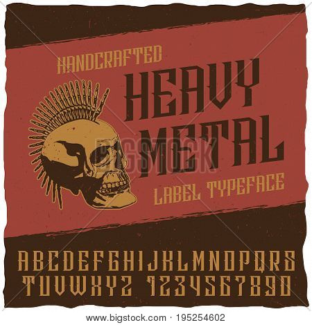 Heavy metal label typeface poster with punk skull vector illustration