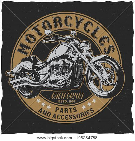 California motorcycles parts and accessories poster for t-shirt on the black background vector illustration