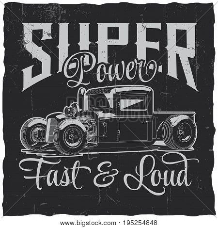 Super power poster with fast and loud with car vector illustration