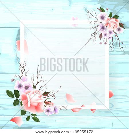 A square frame, a place for text with flowers of a pink rose, a petal on a wooden background. Can be used as a wedding invitation, birthday greeting card, engagement, thank you card. Vector illustration EPS10