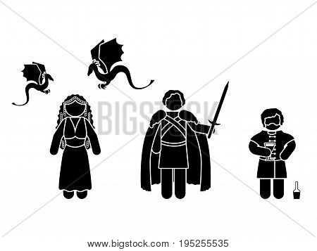 JULY 13 2017: vector illustration of Tyrion Lannister Daenerys Targaryen and Jon Snow (Game of Thrones television series)