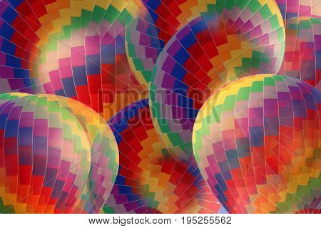 Abstract rainbow hot air balloon for use as background.