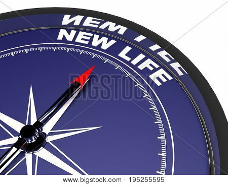 3D Compass Concept New Life .3D Rendered Illustration