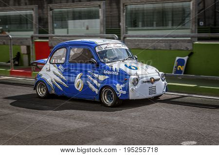 Vallelunga, Rome, Italy. June 24 2017. Italian Bicilindriche Cup, Fiat 500 Racing Car Moving From Pi
