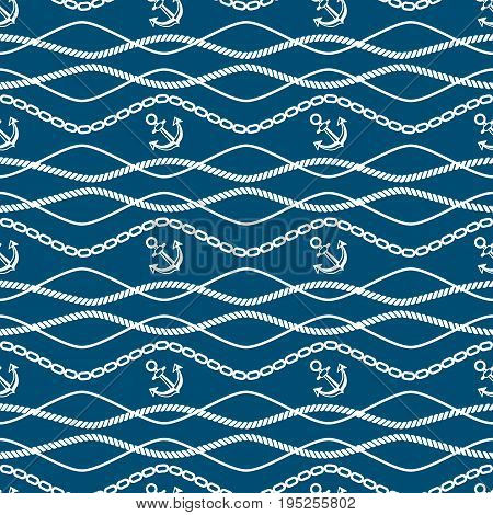 Seamless pattern with chains and anchor. Ongoing stripes background of marine theme blue color. Vector illustration