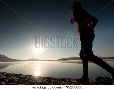 Running Man. Boy Quickly Running On The Morning Beach. Sportsman Runner, Jogging Guy