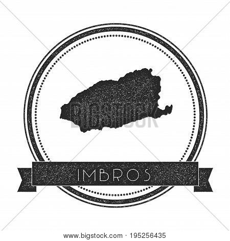 Imbros Map Stamp. Retro Distressed Insignia. Hipster Round Badge With Text Banner. Island Vector Ill