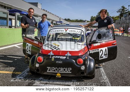 Vallelunga, Rome, Italy. June 24 2017. Italian Bicilindriche Cup, Fiat 500 Racing Car Positioning