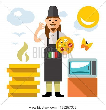 Italian Chef with bake and the green white and red flag. Culture of Italians cuisine. Isolated on a white background