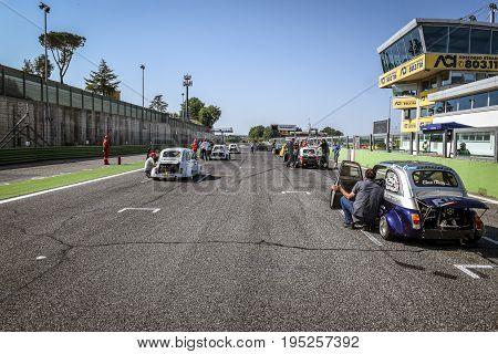 Vallelunga, Rome, Italy. June 24 2017. Italian Bicilindriche Cup, Fiat 500 Racing Car Starting Grid