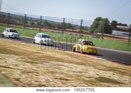 Vallelunga, Rome, Italy. June 24 2017. Italian Bicilindriche Cup, Fiat 500 Racing Cars In Action