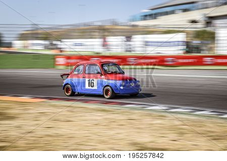 Vallelunga, Rome, Italy. June 24 2017. Italian Bicilindriche Cup, Fiat 500 Racing Car In Action